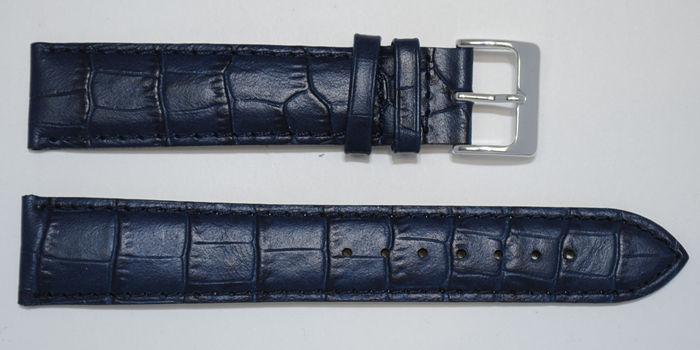 Bracelet montre cuir vachette véritable bombé grain alligator congo bleu  marine 20mm extra long XL ACH 758f663ff62