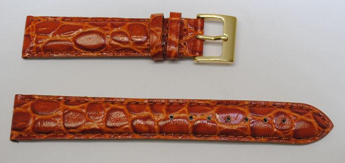 Bracelet montre cuir vachette véritable modèle bombé crocodile florida gold  18mm ACH 47ff64cadd2