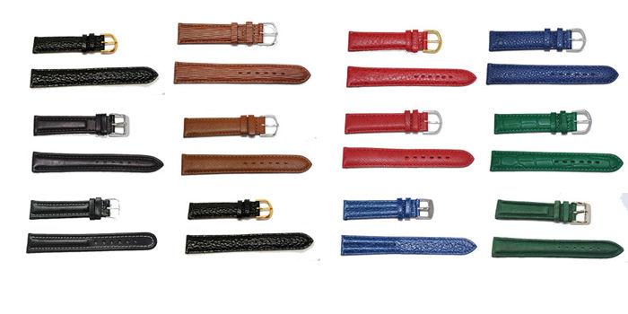 bracelet-montre-lot-18c6nm18-12 bracelets cuir 18mm 3 noirs 3 marrons 6 couleurs  :: + infos - Devis