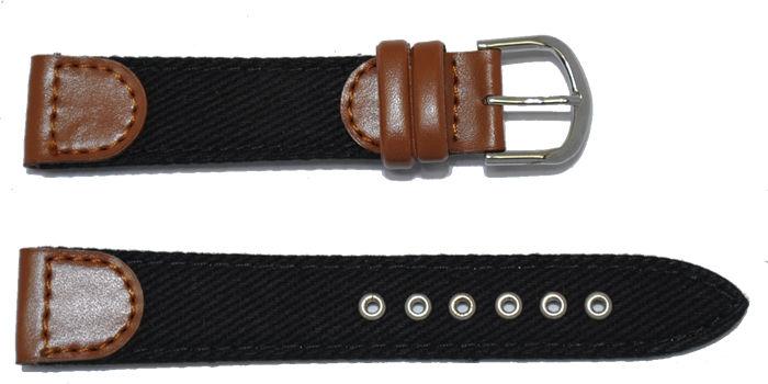 bracelet-montre-cuir-tissu-noir-18-bracelet montre cuir et tissu  :: + infos - Devis